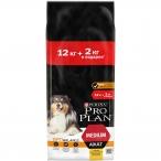 Корм Pro Plan Medium для собак средних пород 10-25 кг с курицей, 12 кг +2кг в подарок