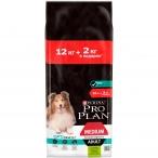 Корм Pro Plan Medium Sensitive Digestion для собак средних пород 10-25 кг с чувствительным пищеварением, с ягненком, 12 кг +2кг в подарок