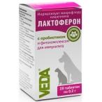 VEDA ЛАКТОФЕРОН таблетки для кошек и собак, для нормализации микрофлоры кишечника, с ПРОБИОТИКОМ, 20 таб. по 0.2 г, 4 г