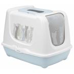 Moderna Туалет-домик Trendy Cat с угольным фильтром и совком, 50х39.5х37.5 см, бело-голубой, 1,5 кг