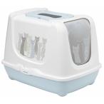 Moderna Туалет-домик Trendy Cat с угольным фильтром и совком, 57.4х44.8х42.7 см, бело-голубой, 1,9 кг