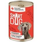 Корм Smart Dog консервы для собак и щенков всех пород, кусочки говядины с морковью в соусе, 850 г