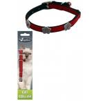 Papillon Светоотражающий ошейник для кошек 10мм-28см, красный (Reflective velvet cat collar 10 mm x 28 cm, colour red) 270103, 0,016 кг