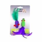 "Papillon Игрушка для кошек ""Две мышки с перьями"" 2х5см (Cat toy 2 mice 5 cm on card) 240055, 0,01 кг"