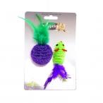 """Papillon Игрушка для кошек """"Мышка и мячик с перьями"""" 5+4см, двуцветные, 0,016 кг"""