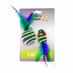 """Papillon Игрушка для кошек """"Мышка и мячик с перьями"""" 5+4см, в полоску, текстиль, 0,016 кг"""