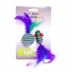 """Papillon Игрушка для кошек """"Мышка и мячик с перьями"""" 5+4см, вязанные, 0,016 кг"""
