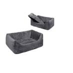 Yami-Yami Лежак прямоуг.пухлый 60*42*20см с подушкой (9801)серый, 0,7 кг