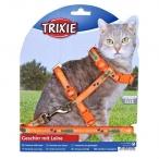Trixie Шлейка с поводком для кошки с рисунком, нейлон, 22–36 см, 10 мм, 1.20 м, 0,074 кг