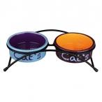 Trixie Миски керамические на подставке, 2х0,3л, 12 см (голубой,оранжевый,фиолетовый), 0,5 кг