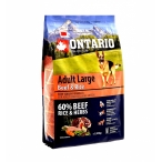 Корм Ontario для собак крупных пород с говядиной и рисом, Ontario Adult Large Beef & Turkey, 12 кг