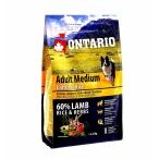 Корм Ontario для собак с ягненком и рисом, Ontario Adult Medium Lamb & Rice, 12 кг