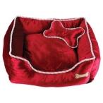 Dezzie Мягкий лежак, красный с косточкой, 51 х 51 х 15 см, 500 г