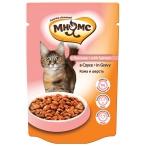 Корм Мнямс Кожа и шерсть (в соусе) для кошек, с лососем, 100 г