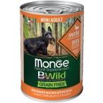 Корм Monge BWild Mini Duck (беззерновой) (консерв.) для собак малых пород, утка с тыквой и кабачками, 400 г
