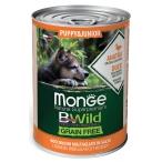 Корм Monge BWild Puppy & Junior Duck (беззерновой) (консерв.) для щенков, утка с тыквой и кабачками, 400 г