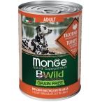 Корм Monge BWild Turkey (беззерновой) (консерв.) для собак, индейка с тыквой и кабачками, 400 г