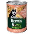 Корм Monge BWild Salmon (беззерновой) (консерв.) для собак, лосось с тыквой и кабачками, 400 г