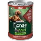 Корм Monge BWild Lamb (беззерновой) (консерв.) для собак, ягненок с тыквой и кабачками, 400 г