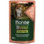 Корм Monge Cat BWild GRAIN FREE (консерв.) для стерилизованных кошек, лосось с креветками и овощами, 85г