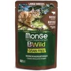 Корм Monge Cat BWild GRAIN FREE (консерв.) для кошек крупных пород, буйвол с овощами, 85г