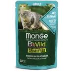 Корм Monge Cat BWild GRAIN FREE (консерв.) для кошек, треска с креветками и овощами, 85г