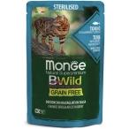 Корм Monge Cat BWild GRAIN FREE (консерв.) для стерилизованных кошек, тунец с креветками и овощами, 85г