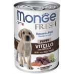 Корм Monge Fresh Chunks in Loaf Puppy & Junior Veal (консерв.) для щенков, мясной рулет с телятиной и овощами, 400 г