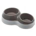 Bama Pet миска для собак двойная CIOTOLOTTO, 500-400 мл, коричневая