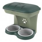 Bama Pet миска для собак настенная двойная, 1600 мл, зеленая