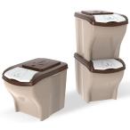 Bama Pet контейнер для хранения корма POKER, 20 л, 3 шт, бежевый