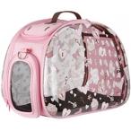 Ibbiyaya складная сумка-переноска для собак и кошек до 6 кг прозрачная/розовая дизайн сердечки
