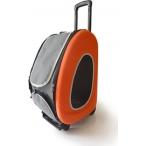 Ibbiyaya складная сумка-тележка 3 в 1 для собак до 8 кг (сумка, рюкзак, тележка) оранжевая