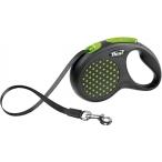 Flexi рулетка Design S (до 15 кг) 5м лента черная/зеленый горох