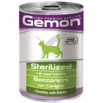 Корм Gemon Cat Sterilised консервы для стерилизованных кошек кусочки кролика, 415 г