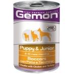 Корм Gemon Dog консервы для щенков кусочки курицы с индейкой, 415 г