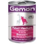 Корм Gemon Dog Medium консервы для собак средних пород кусочки говядины с печенью, 415 г