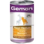 Корм Gemon Dog Medium консервы для собак средних пород кусочки курицы с индейкой, 1.25 кг
