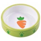 КерамикАрт миска керамическая для грызунов зеленая с морковью, 70 мл