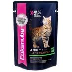 Корм Eukanuba для взрослых кошек, с говядиной в соусе, 85 г