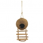 "Домик NATURAL для птиц из кокоса ""Шале"" с лестницей, 100-130/450мм"