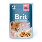 Корм Brit Premium Chiken fillets for kitten (в соусе) для котят, кусочки из куриного филе, 85 г