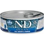 Корм Farmina N&D Ocean Cod, Shrimps & Pumpkin Kitten (консерв.) для котят, треска с креветками и тыквой, 80 г