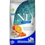Корм Farmina N&D OCEAN Codfish, Pumpkin And Orange Medium/Maxi беззерновой для собак средних и крупных пород, треска, тыква и апельсин, 2.5 кг