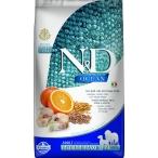 Корм Farmina N&D OCEAN Codfish, Spelt, Oats And Orange Medium/Maxi низкозерновой для собак средних и крупных пород, треска, спельта, овес и апельсин, 12 кг