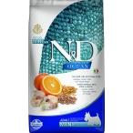 Корм Farmina N&D OCEAN Codfish, Spelt, Oats And Orange Mini низкозерновой для взрослых собак малых пород, треска, спельта, овес и апельсин, 7 кг