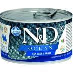 Корм Farmina N&D OCEAN Sea Bass & Squid (консерв.) для собак, морской окунь с кальмаром, 140 г