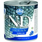 Корм Farmina N&D OCEAN Salmon & Cod (консерв.) для собак, лосось с треской, 285 г