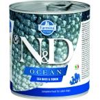 Корм Farmina N&D OCEAN Sea Bass & Squid (консерв.) для собак, морской окунь с кальмаром, 285 г