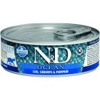 Корм Farmina N&D OCEAN Cod, Shrimps & Pumpkin (консерв.) для взрослых кошек, треска с креветками и тыквой, 80 г